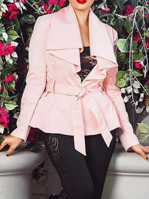 Standard Lace-Up Long Sleeve Women's Trench Coat