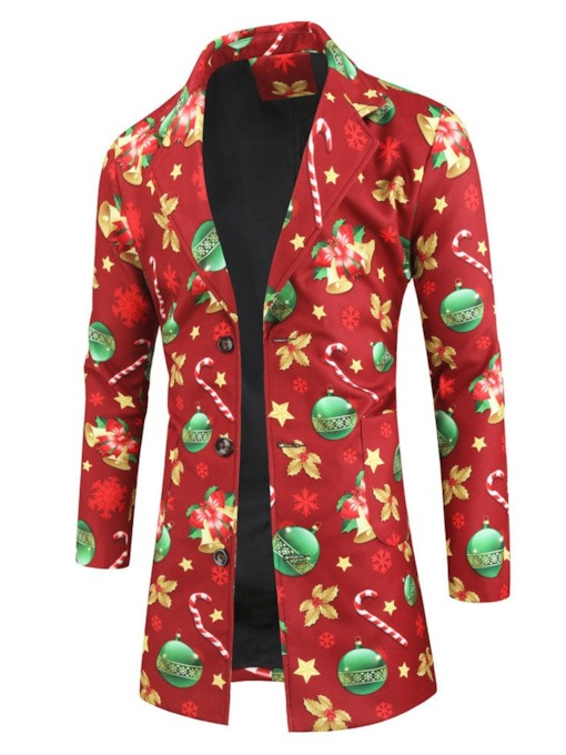 Christmas Button Color Block Lapel Mid-Length Single-Breasted Men's Coat
