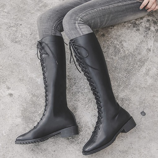 Square Toe Block Heel Lace-Up Front Knee High Boots