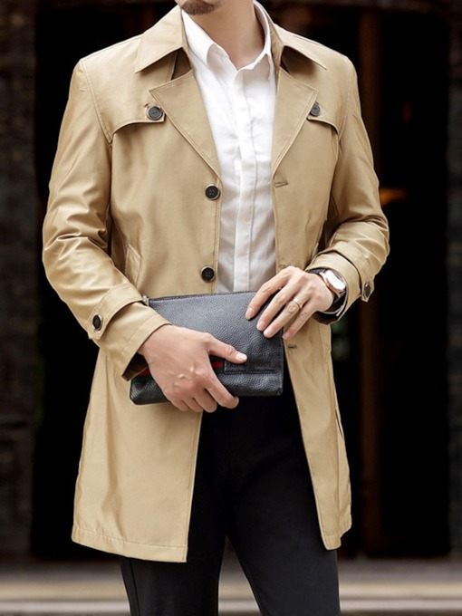 Mid-Length Lapel Button Plain Casual Men's Trench Coat