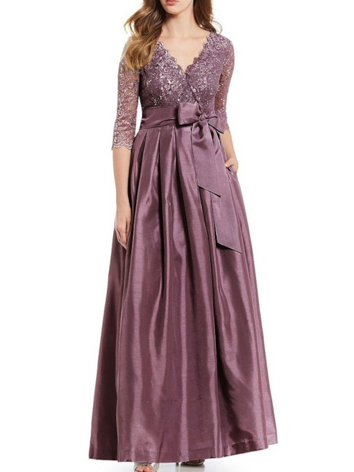 Lace V-Neck Three-Quarter Sleeve Ankle-Length High Waist Women's Dress