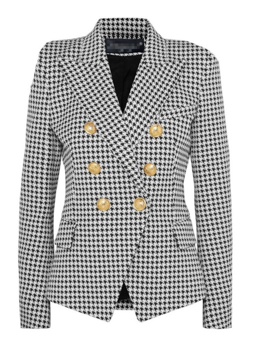Long Sleeve Notched Lapel Plain Double-Breasted Regular Women's Casual Blazer
