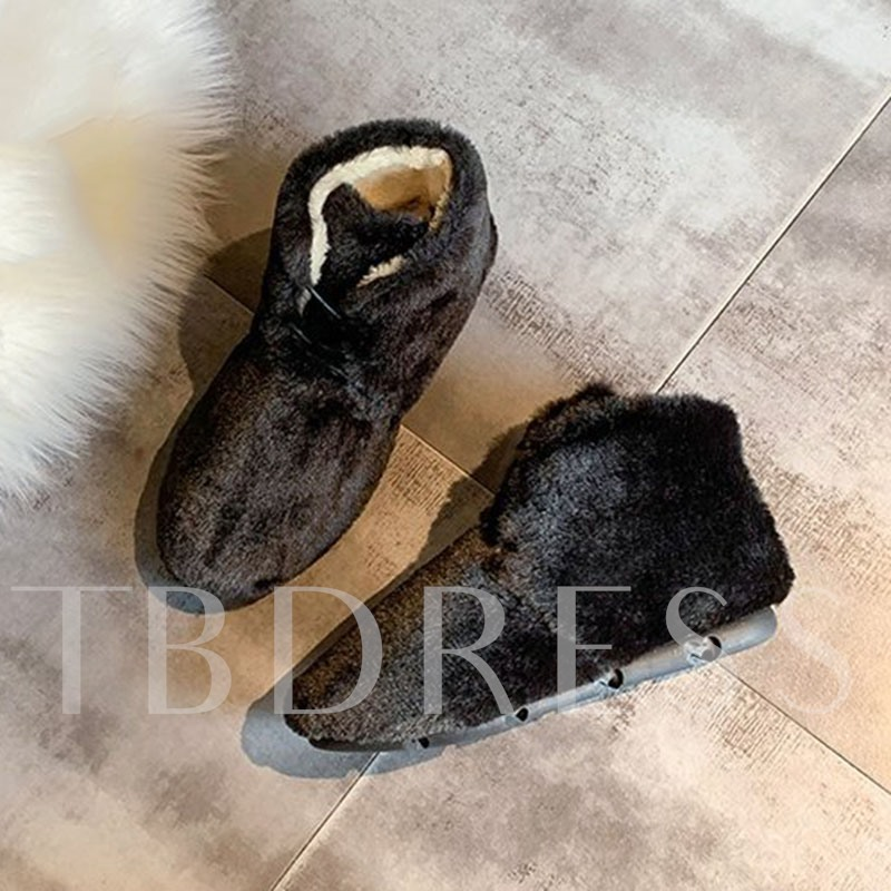 Plain Lace-Up Front Round Toe Indoor Booties