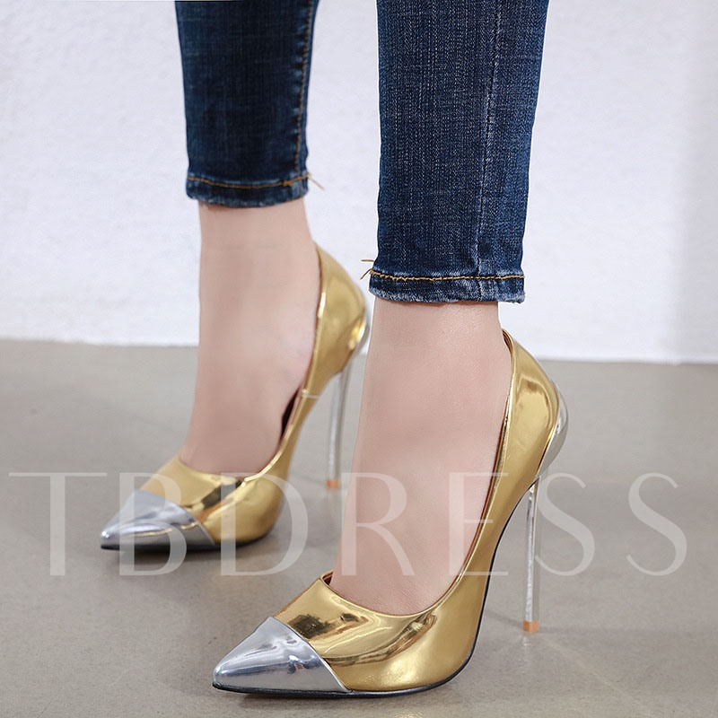Pointed Toe Stiletto Heel Slip-On Patchwork Banquet Pumps