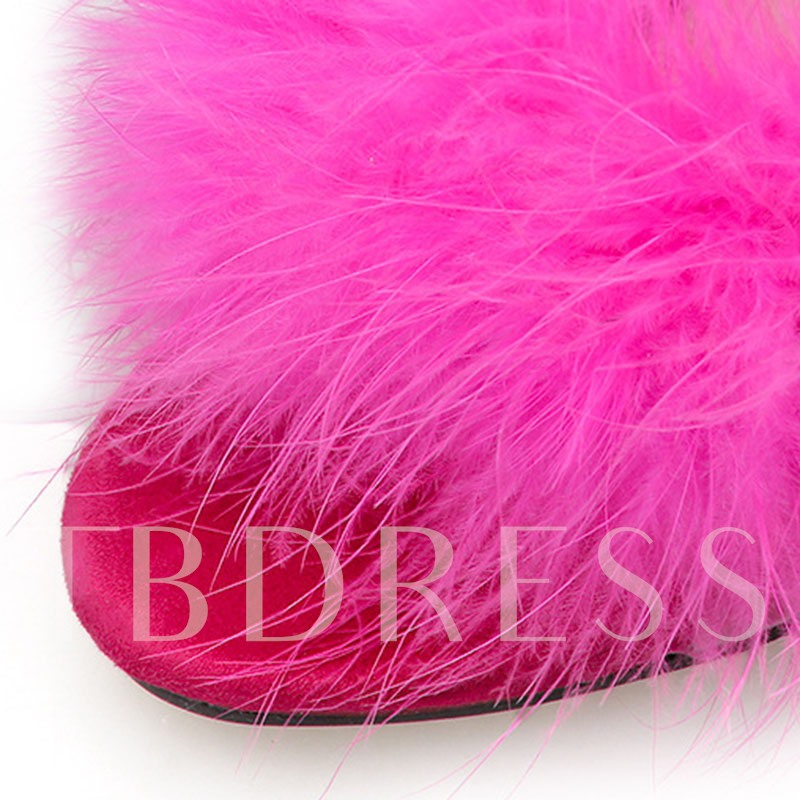 Chunky Heel Slip-On Feather Slippers