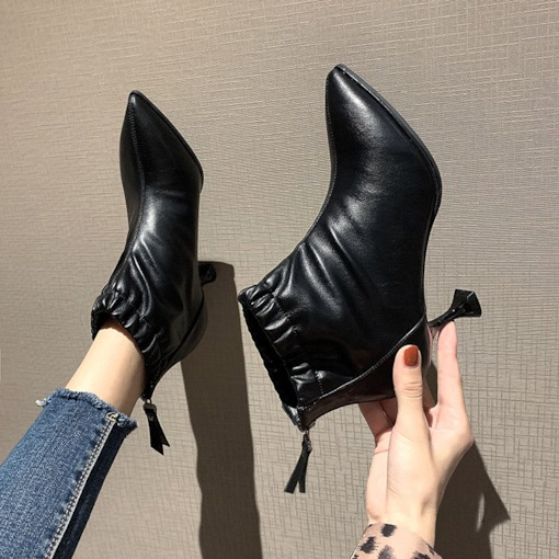 Pointed Toe Back Zip Stiletto Heel Plain Casual Booties