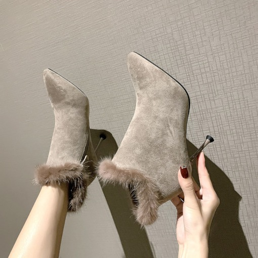 Side Zipper Pointed Toe Patchwork Stiletto Heel Fluffy Ankle Boots