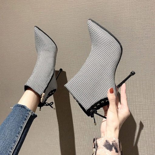 Pointed Toe Lace-Up Back Stiletto Heel Fashion Booties