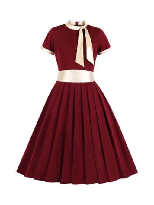 Bow Collar Short Sleeve Mid-Calf Bowknot Pullover Women's Dress