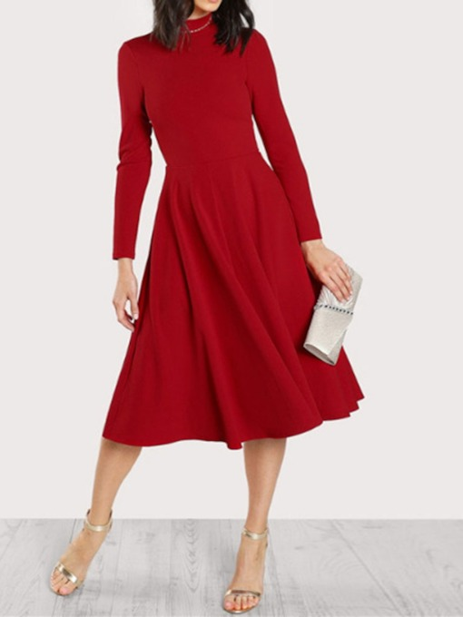 Mid-Calf Nine Points Sleeve Stand Collar Mid Waist Women's Dress