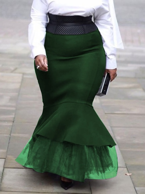 Plus Size Mermaid Floor-Length Patchwork Casual Women's Skirt