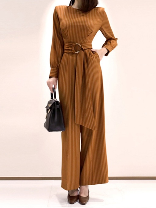 Lace-Up Casual Straight Full Length Women's Jumpsuit