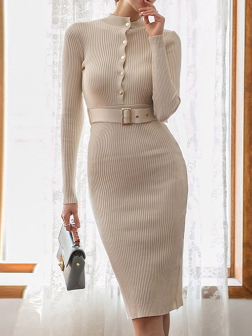 Long Sleeve Stand Collar Mid-Calf Belt Bodycon Women's Dress
