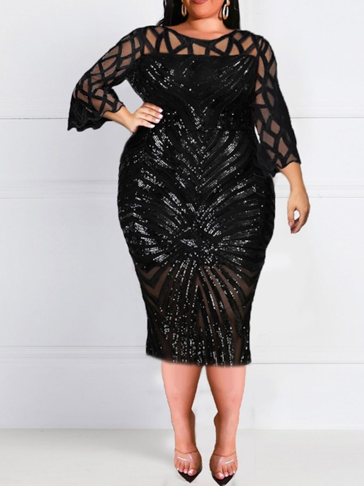 Plus Size Sequins Mid-Calf Round Neck Three-Quarter Sleeve Fall Women's Dress