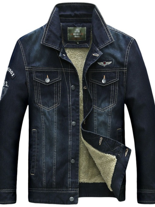 Lapel Patchwork Straight Casual Men's Jacket