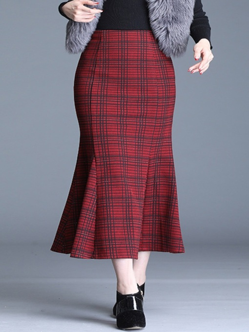 Mermaid Plaid Mid-Calf Women's Skirt