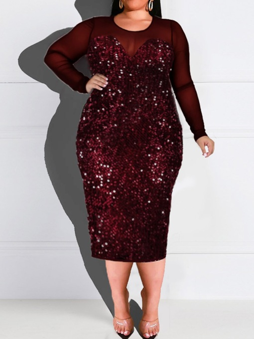 Plus Size Long Sleeve Mid-Calf Round Neck Sequins Spring Women's Dress