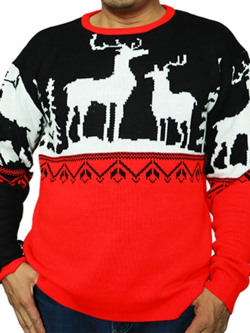 Christmas Round Neck Geometric Loose Men's Sweater