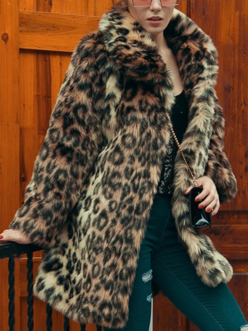 Leopard Lapel Mid-Length Thick Women's Faux Fur Overcoat