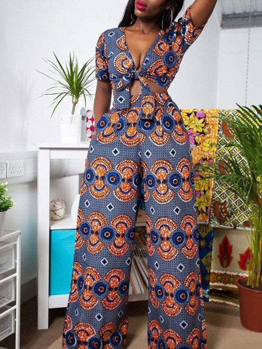 African Fashion Print Wide Legs Women's Two Piece Sets