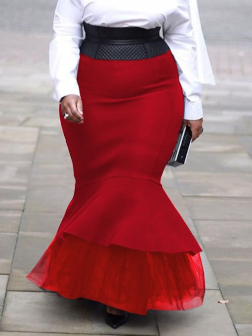 Mermaid Floor-Length Patchwork Plus Size Women's Skirt