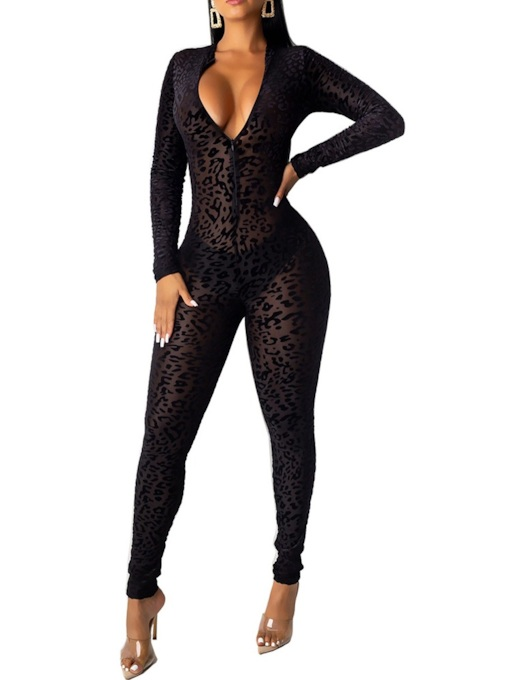 Sexy See-through Full Length Pencil Pants Women's Jumpsuit