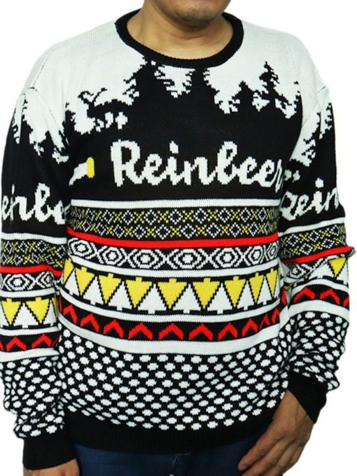 Christmas Round Neck Letter Loose Men's Sweater