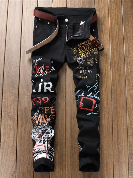 Printed European Style Men's Casual Pants