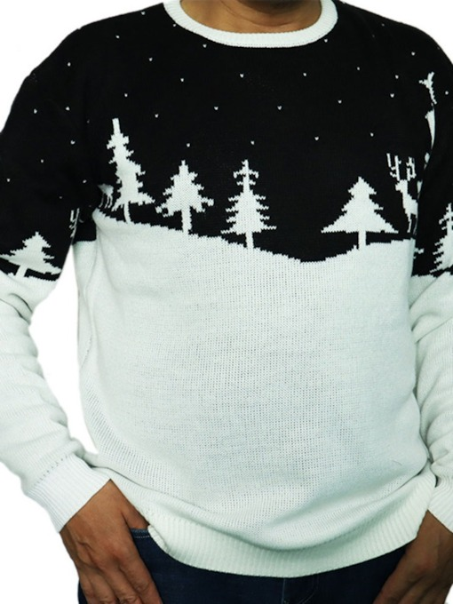 Christmas Round Neck Plant Casual Men's Sweater