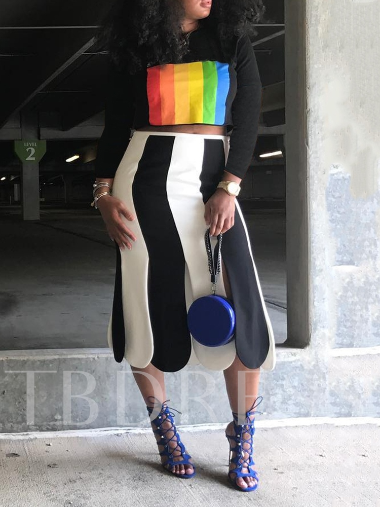 Letter Color Block Pullover Women's Two Piece Sets