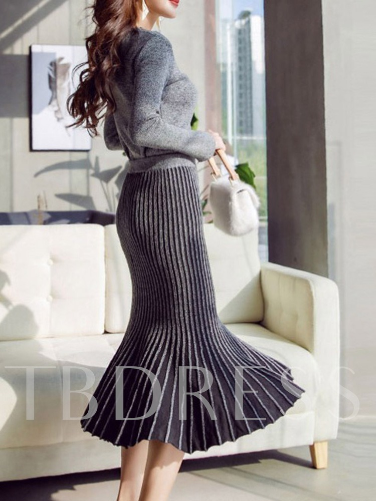 Elegant Plain Pullover Pleated Women's Two Piece Sets