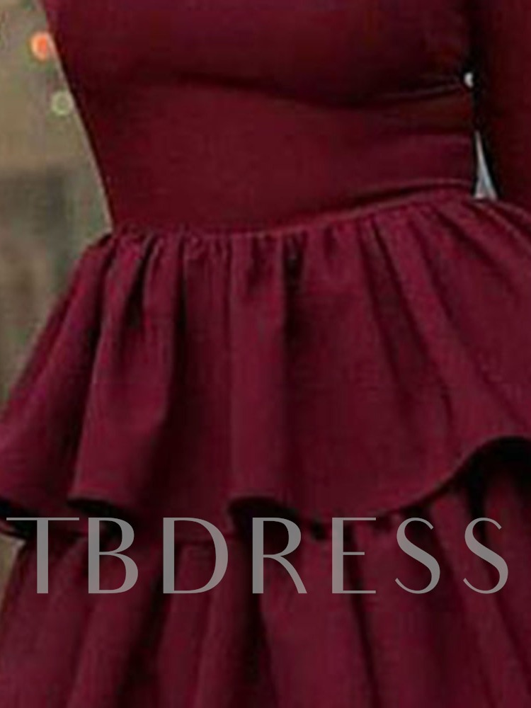 Long Sleeve Mid-Calf Pleated Round Neck Spring Women's Dress