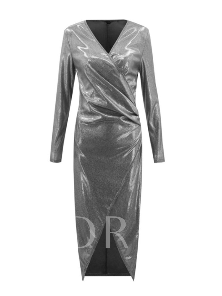 V-Neck Split Long Sleeve Floor-Length A-Line Women's Dress