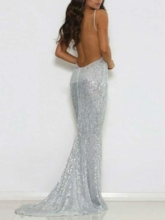 Spaghetti Straps Backless Silver Sequins Evening Dress 2019