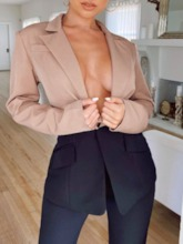 One Button Color Block Long Sleeve Mid-Length Women's Casual Blazer