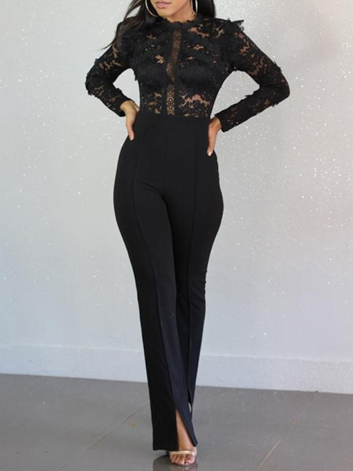 Ladylike Plain Patchwork Lace High Waist Women's Jumpsuit