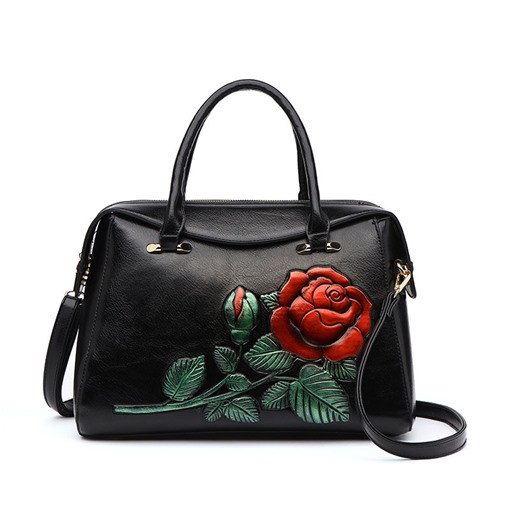 Embossing Floral PU Rectangle Women's Tote Bags