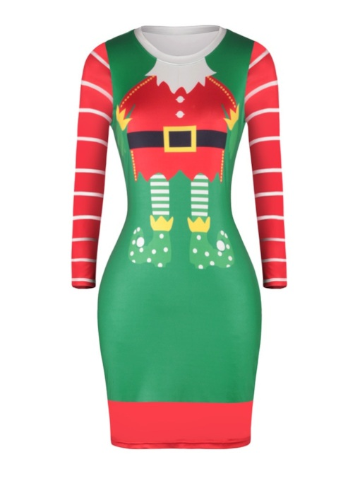 Print Round Neck Long Sleeve Above Knee Pullover Women's Dress
