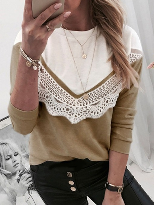 Regular Color Block Lace Round Neck Women's Hoodie