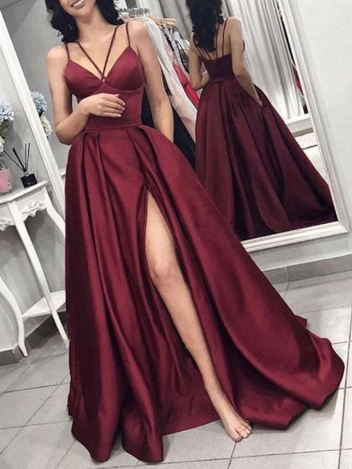 Spaghetti Straps A-Line Split-Front Prom Dress 2020