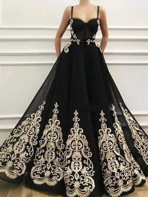 A-Line Spaghetti Straps Embroidery Black Evening Dress 2020
