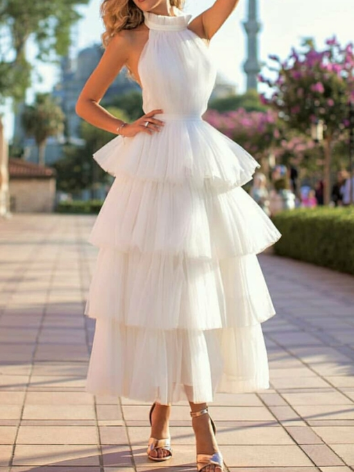 High Neck Tiered Tea-Length Ball Gown Wedding Dress 2020