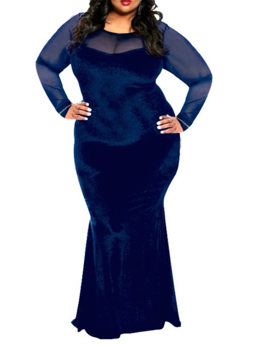 Plus Size Mesh Round Neck Floor-Length Long Sleeve Plain Women's Dress