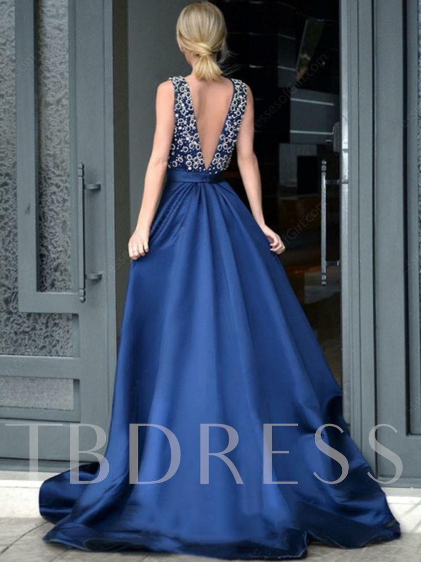 A-Line Deep V-Neck Beading Evening Dress 2020