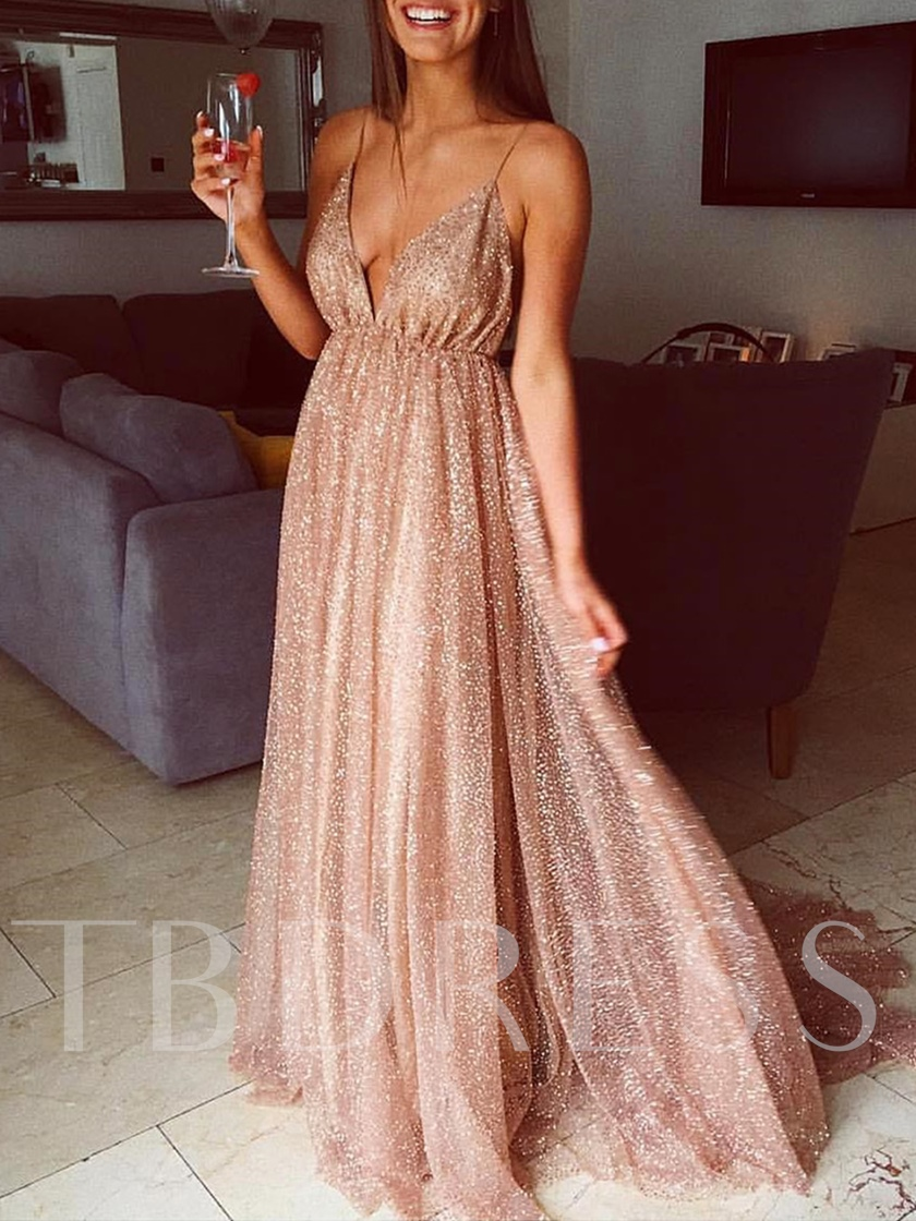 Spaghetti Straps Sequins Backless Prom Dress 2020