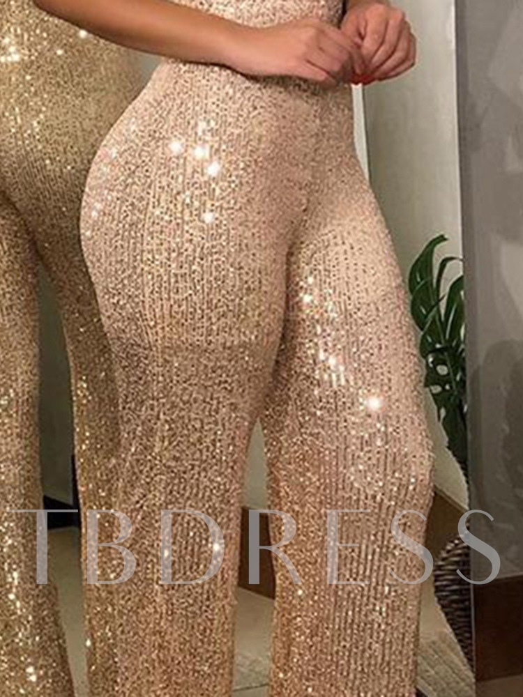 Sexy Plain Sequin Wide Legs Women's Jumpsuit