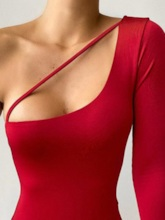 Plain Sexy One Piece One Shoulder Women's Swimwear