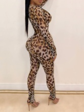 Leopard Full Length Skinny Women's Jumpsuit