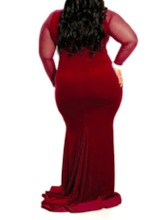 Plus Size Long Sleeve Round Neck Patchwork Floor-Length Party/Cocktail Women's Dress