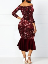 Mid-Calf Three-Quarter Sleeve Sequins Fall Women's Dress